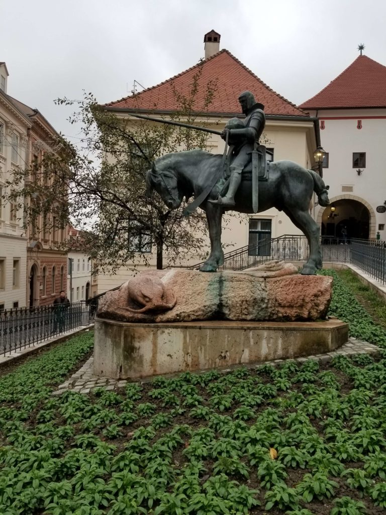 The equestrian statue of St. George and the Dragon - Zagreb, Croatia