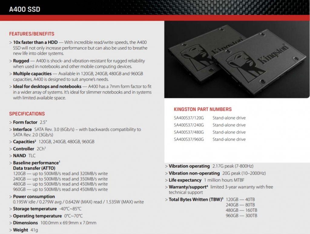 Perbandingan Memilih SSD 120GB Murah dan Bagus Kingston A400 SSD Spesifikasi 1 2