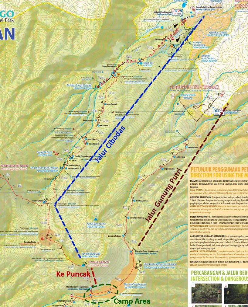 Pendakian Gunung Gede: Putri Lintas Cibodas - Turun Gunung (3/3) Peta Gunung Gede 1