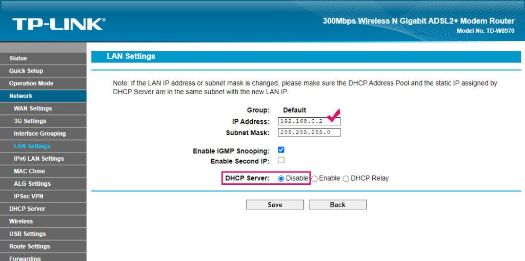 LAN IP Address Router TP-LINK